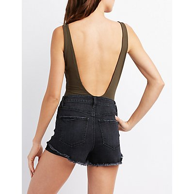 Sleeveless Lace-Up Bodysuit