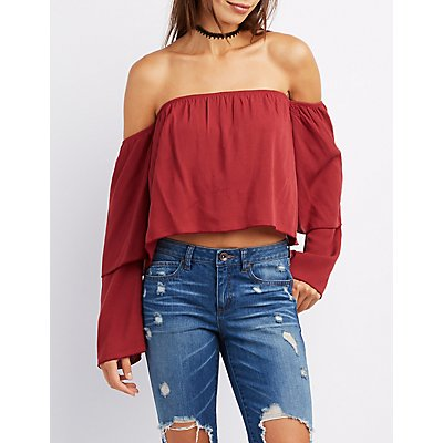 Off-The-Shoulder Tiered Sleeve Top