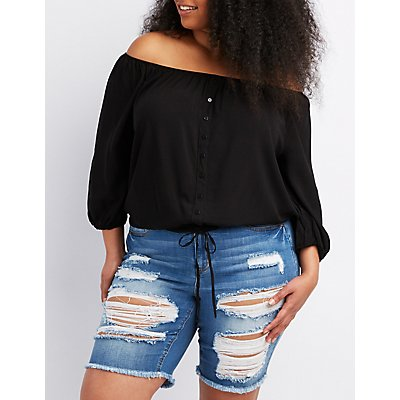 Plus Size Off-The-Shoulder Button-Up Top