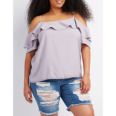 Plus Size Ruffle-Trim Cold Shoulder Top