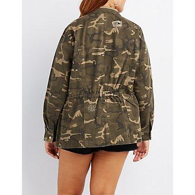 Plus Size Destroyed Camo Anorak Jacket