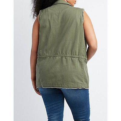 Plus Size Drawstring Utility Vest