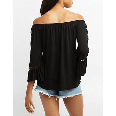 Embroidered Off-The-Shoulder Bell Sleeve Top