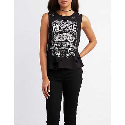 Motorcycle Distressed Muscle Tee