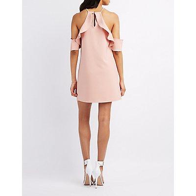 Ruffle-Trim Bib Neck Dress