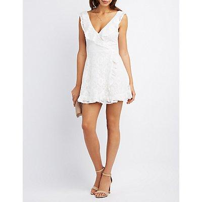 Lace Ruffle-Trim Surplice Dress