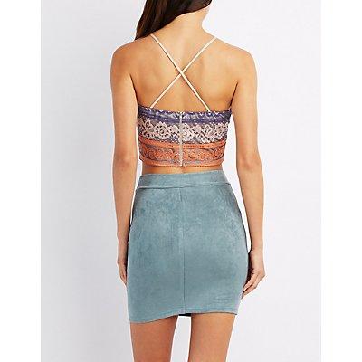 Colorblock Strappy Lace Crop Top