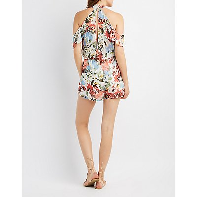 Floral Bib Neck Cold Shoulder Romper