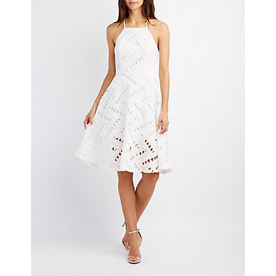 Crochet Bib Neck Skater Dress