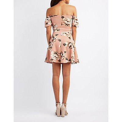 Floral Off-The-Shoulder Lattice-Front Dress