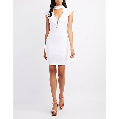 Choker Neck Lace-Up Bodycon Dress