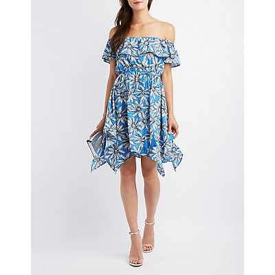 Floral Off-The-Shoulder Sharkbite Dress