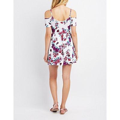 Floral Cold Shoulder Skater Dress