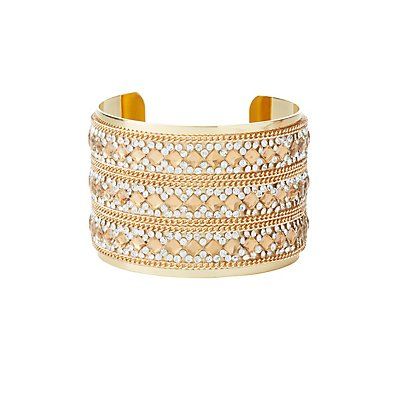 Embellished Chain Cuff Bracelet