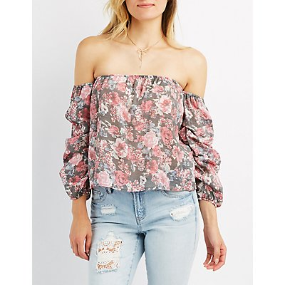 Floral Ruched Sleeve Off-The-Shoulder Top