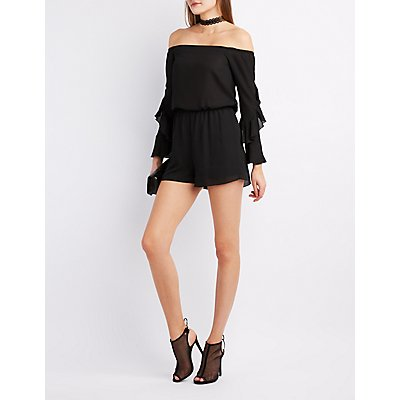 Ruffle Sleeve Off-The-Shoulder Romper