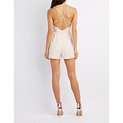 Strappy Floral Lace Romper