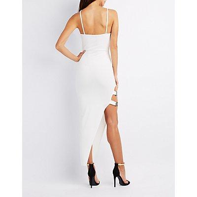 Asymmetrical Buckled Maxi Dress