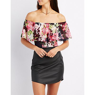 Floral Off-The-Shoulder Mesh Bodysuit