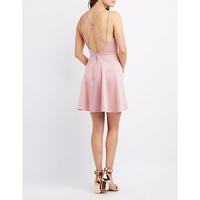 Strappy Back Surplice Skater Dress