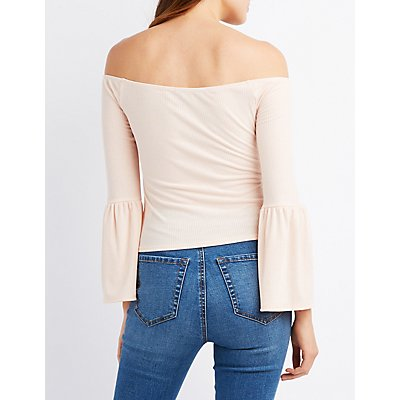 Ribbed Off-The-Shoulder Bell Sleeve Top