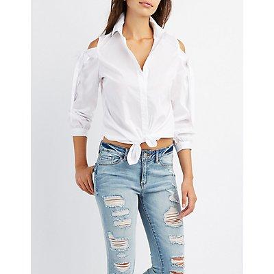 Cold Shoulder Button-Up Shirt