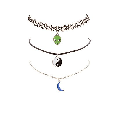 Pendant & Tattoo Choker Necklaces - 3 Pack