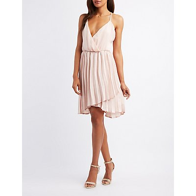 Satin Surplice Skater Dress