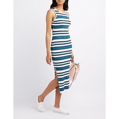 Striped Sweater Knit Midi Dress