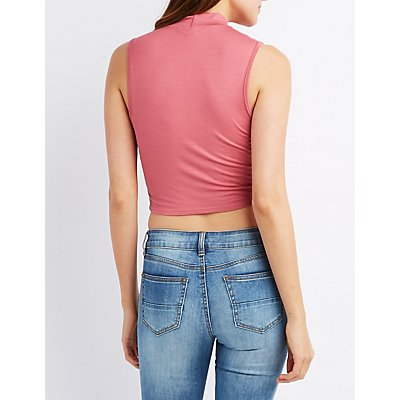Mock Neck Lace-Up Crop Top