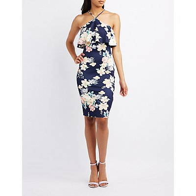 Floral V-Strap Ruffle Dress