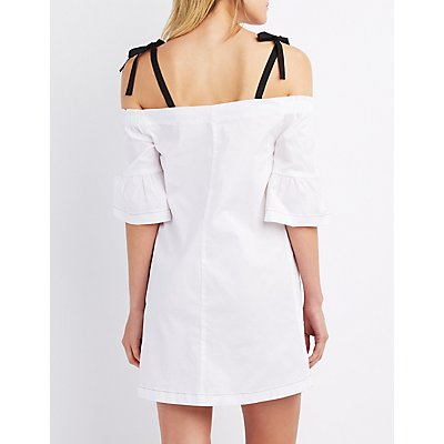 Poplin Cold Shoulder Shift Dress