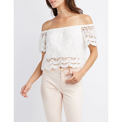 Scalloped-Trim Off-The-Shoulder Crop Top