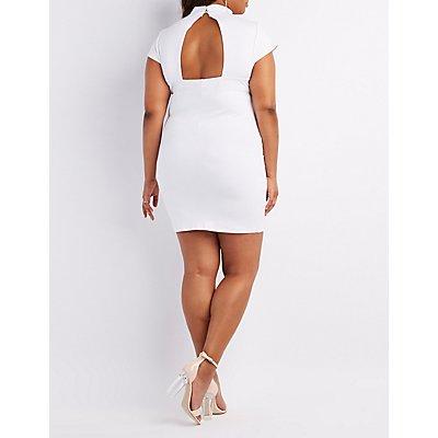 Plus Size Choker Neck Lace-Up Bodycon Dress