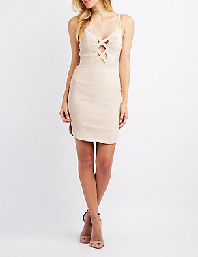 Faux Suede Lattice-Front Bodycon Dress