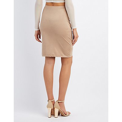 Faux Suede Ruched Pencil Skirt