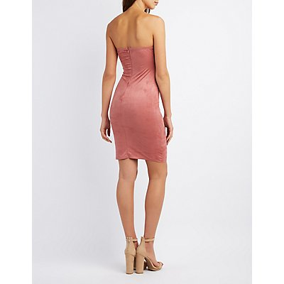 Faux Suede Strapless Midi Dress
