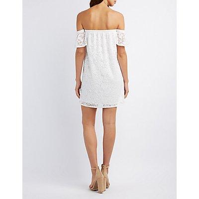 Floral Lace Off-The-Shoulder Shift Dress