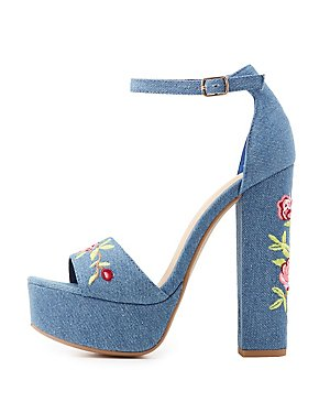 Embroidered Denim Two-Piece Sandals