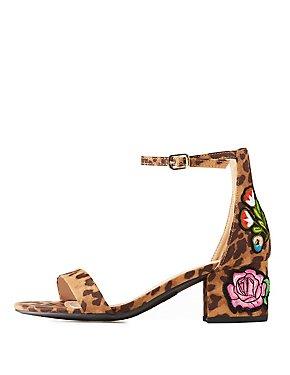 Leopard Floral Patch Two-Piece Sandals