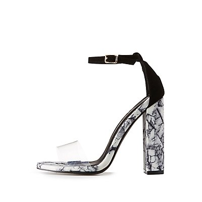 Marble Print Two-Piece Dress Sandals