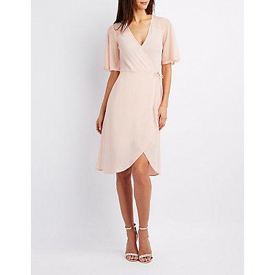 Mesh-Sleeve Wrap Dress