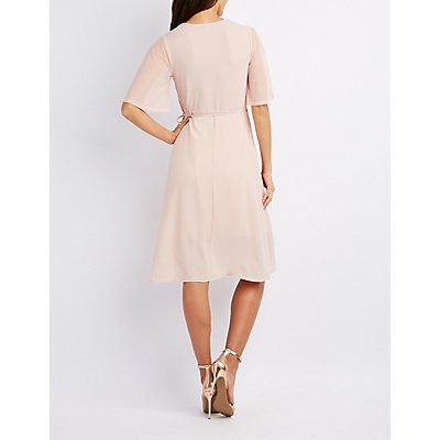Mesh-Sleeve Wrap Dress