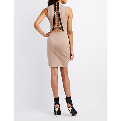 Mock Neck Lace-Up Back Dress