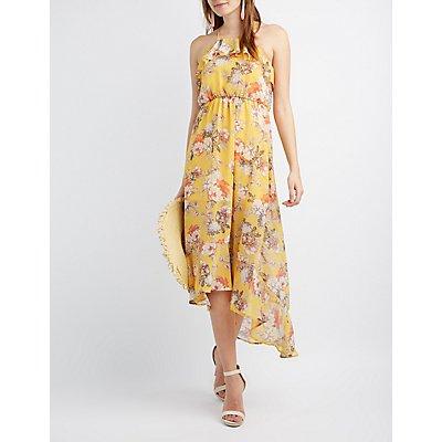Floral High-Low Maxi Dress