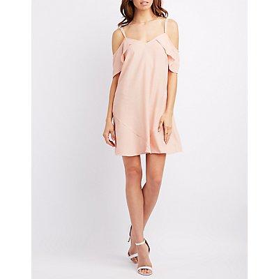 Gauze Cold Shoulder Shift Dress