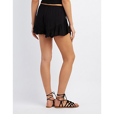 Embroidered Ruffle-Trim Shorts
