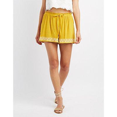 Embroidered Drawstring Shorts
