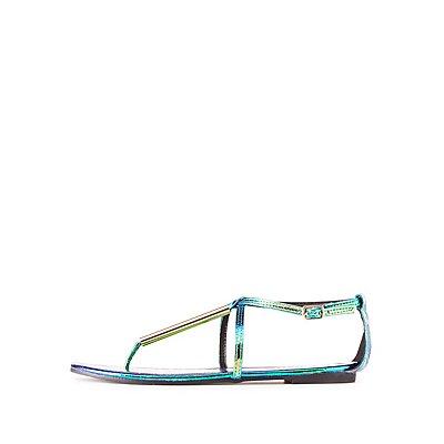 Holographic Gold-Trim T-Strap Sandals