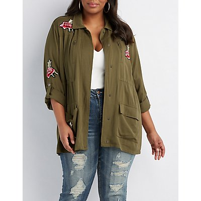Plus Size Embroidered Anorak Jacket